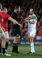 All Blacks captain Kieran Read argues with referee Romain Poite during the 2017 DHL Lions Series rugby union 3rd test match between the NZ All Blacks and British & Irish Lions at Eden Park in Auckland, New Zealand on Saturday, 8 July 2017. Photo: Dave Lintott / lintottphoto.co.nz