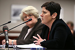 Nevada Department of Taxation Director Deonne Contine testifies in committee at the Legislative Building in Carson City, Nev., on Friday, April 3, 2015. <br /> Photo by Cathleen Allison