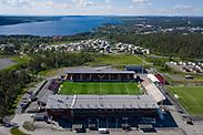 OSTERSUND, SWEDEN - JUNE 18: Aerial view of Jamtkraft Arena ahead of the Allsvenskan match between Ostersunds FK and IK Sirius FK at Jamtkraft Arena on June 18, 2020 in Ostersund, Sweden. (Photo by David Lidström Hultén/LPNA)