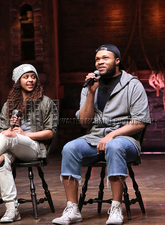 """Sasha Hollinger and Sean Green during the  #EduHam matinee performance Q & A for """"Hamilton"""" at the Richard Rodgers Theatre on 3/28/2018 in New York City."""
