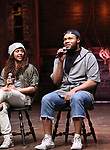"Sasha Hollinger and Sean Green during the  #EduHam matinee performance Q & A for ""Hamilton"" at the Richard Rodgers Theatre on 3/28/2018 in New York City."