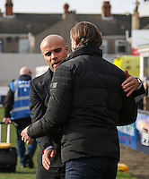 Grimsby Town Manager Marcus Bignot welcomes Wycombe Wanderers Manager Gareth Ainsworth during the Sky Bet League 2 match between Grimsby Town and Wycombe Wanderers at Blundell Park, Cleethorpes, England on 4 March 2017. Photo by Andy Rowland / PRiME Media Images.