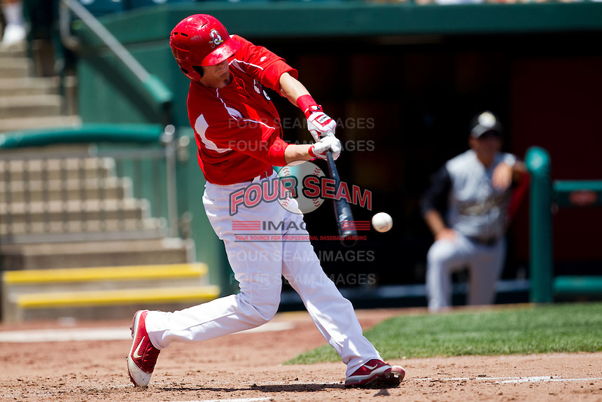Ryan Jackson (23) of the Springfield Cardinals makes contact on a pitch during a game against the San Antonio Missions on May 30, 2011 at Hammons Field in Springfield, Missouri.  Photo By David Welker/Four Seam Images
