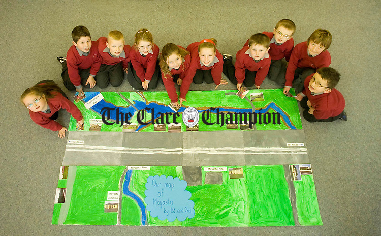 First and second class pupils display their town map at Moyasta National School. Photograph by Declan Monaghan