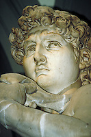 Close up of David's face and right hand. Michelangelo. Florence Tuscany Italy Europe.