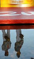 Il riflesso nell'acqua di Andrea Facchin e Antonio Scaduto sul podio con la medaglia di bronzo vinta nel K2 1000 metri<br /> Sy Rowing and Canoeing Park - Canoa<br /> Pechino - Beijing 22/8/2008 Olimpiadi 2008 Olympic Games<br /> Foto Andrea Staccioli Insidefoto