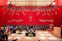 L'Aquila, 17 maggio 2016, il Presidente del Consiglio, Matteo Renzi (PD), incontra i sindaci dell'Abruzzo insieme al Presidente regionale Luciano D'Alfonso. Foto di Adamo Di loreto/BuenaVista*photo