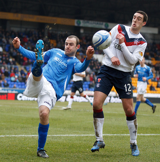 Dave Mackay clears as Lee Wallace challenges