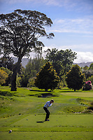 Kurt Greve tees off at the 8th. 2017 Asia-Pacific Amateur Championship Media and Partner Golf Day at Royal Wellington Golf Club in Wellington, New Zealand on Monday, 16 October 2017. Photo: Dave Lintott / lintottphoto.co.nz
