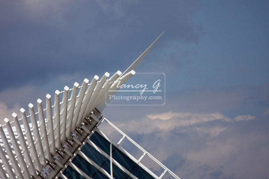 The wings of the Cavatrava in Downtown Milwaukee.  Southern View of the Milwaukee Public Art Museum on the shore of Lake Michigan