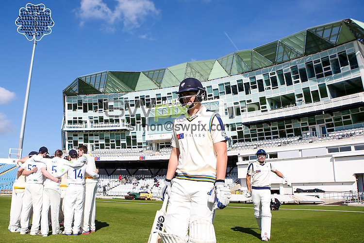 Picture by Alex Whitehead/SWpix.com - 07/04/2015 - Cricket - Yorkshire CCC v Leeds/Bradford MCCU - Day 1 - Headingley Stadium, Leeds, England - Yorkshire's Alex Lees and Will Rhodes walk out to bat at the start of play.