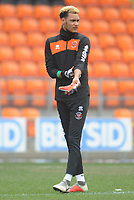 Blackpool's Christoffer Mafoumbi during the pre-match warm-up <br /> <br /> Photographer Kevin Barnes/CameraSport<br /> <br /> The EFL Sky Bet League One - Blackpool v Oxford United - Saturday 23rd February 2019 - Bloomfield Road - Blackpool<br /> <br /> World Copyright © 2019 CameraSport. All rights reserved. 43 Linden Ave. Countesthorpe. Leicester. England. LE8 5PG - Tel: +44 (0) 116 277 4147 - admin@camerasport.com - www.camerasport.com