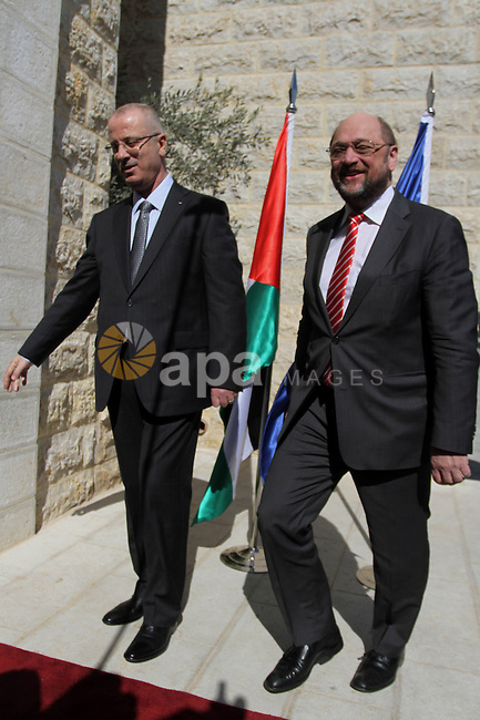 Palestinian Prime Minister Rami Hamdallah, meets with President of the European Parliament Martin Schulz in the West Bank City of Ramallah, on Feb. 10, 2014. Photo by Issam Rimawi