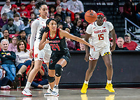 COLLEGE PARK, MD - FEBRUARY 9: Arella Guirantes #24 of Rutgers chases after a loose ball during a game between Rutgers and Maryland at Xfinity Center on February 9, 2020 in College Park, Maryland.