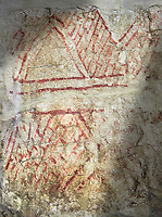 Geometric wall painting circa 6000 BC . Catalhoyuk collection, Konya Archaeological Museum, Turkey