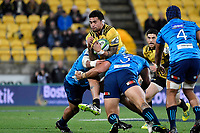 Hurricanes&rsquo; Vaea Fifita in action during the Super Rugby - Hurricanes v Blues at Westpac Stadium, Wellington, New Zealand on Saturday 7 July 2018.<br /> Photo by Masanori Udagawa. <br /> www.photowellington.photoshelter.com