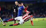 Pedro of Chelsea is challenged by Mame Biram Diouf of Stoke City during the premier league match at Stamford Bridge Stadium, London. Picture date 30th December 2017. Picture credit should read: Robin Parker/Sportimage