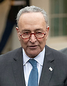 United States Senate Minority Leader Chuck Schumer (Democrat of New York) meets reporters at the White House after meeting with US President Donald J. Trump on border security and reopening the federal government at the White House in Washington, DC on Wednesday, January 2, 2018.<br /> Credit: Ron Sachs / CNP