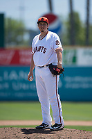 San Jose Giants relief pitcher DJ Myers (37) during a California League game against the Lancaster JetHawks at San Jose Municipal Stadium on May 13, 2018 in San Jose, California. San Jose defeated Lancaster 3-0. (Zachary Lucy/Four Seam Images)