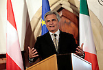 Austria's chancellor Werner Faymann speaks at a convention about region and Europe at Castel Presule, in Fiè allo Sciliar- Völs am Schlern, on July 5, 2014.