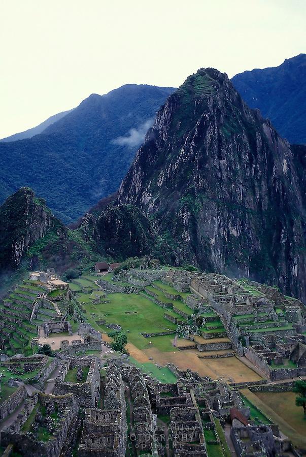 Overview of the spectacular ruins of Machu Picchu, Peru