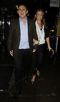 Richard Merkell & Patsy Palmer.attended the Kensington Club new boutique nightclub launch party, The Kensington Club, High Street Kensington, London, England,.20th July 2012..full length husband wife couple brown suit jacket blue shirt black trousers white top .CAP/CAN.©Can Nguyen/Capital Pictures.