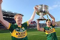 Colm Gooch Cooper and Aidan O'Mahony celebrate after Kerry's victory over Donegal in Croke Park on Sunday.<br /> Picture by Don MacMonagle