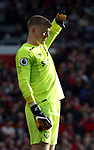 Jordan Pickford of Everton shield his eyes from the sun light during the premier league match at the Old Trafford Stadium, Manchester. Picture date 17th September 2017. Picture credit should read: Simon Bellis/Sportimage