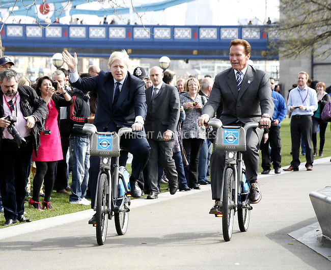 WWW.ACEPIXS.COM . . . . .  ..... . . . . US SALES ONLY . . . . .....March 31 2011, London....Mayor of London Boris Johnson (L) promotes London Cycle Hire bikes with former Governor of California Arnold Schwarzenegger on March 31, 2011 in London following a meeting to discuss low emmission technology.....Please byline: FAMOUS-ACE PICTURES... . . . .  ....Ace Pictures, Inc:  ..tel: (212) 243 8787 or (646) 769 0430..e-mail: info@acepixs.com..web: http://www.acepixs.com