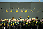 The University of Oregon's band plays for the crowd at their Fiesta Bowl pep rally. ..Tribune Photo: Meg Williams ..1-2-13, DUCKS, U OF O, Fiesta bowl, pep rally, Tostitos Fiesta Bowl, University of Oregon, Phoenix, Saltwater Fields