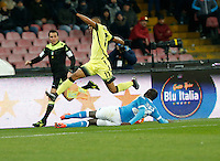 Napoli's Kalidou Koulibaly challenges Jonathan Biabiany  during the Quartef-final of Tim Cup soccer match,between SSC Napoli and vFC Inter    at  the San  Paolo   stadium in Naples  Italy , January 19, 2016