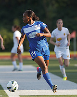 Boston Breakers defender Kia McNeill (14) looks to pass. In a National Women's Soccer League (NWSL) match, Boston Breakers (blue) tied Western New York Flash (white), 2-2, at Dilboy Stadium on August 3, 2013.