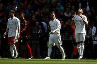 29.04.2012 SPAIN -  La Liga matchday 36th  match played between Real Madrid CF vs Sevilla Futbol Club (3-0) at Santiago Bernabeu stadium. The picture show  Karim Benzema (French Forward of Real Madrid) celebrating his team's goal