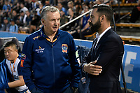 1st November 2019; Leichhardt Oval, Sydney, New South Wales, Australia; A League Football, Sydney Football Club versus Newcastle Jets; Ernie Merrick coach of Newcastle Jets and ex Sydney captain Alex Brosque chat before the game - Editorial Use