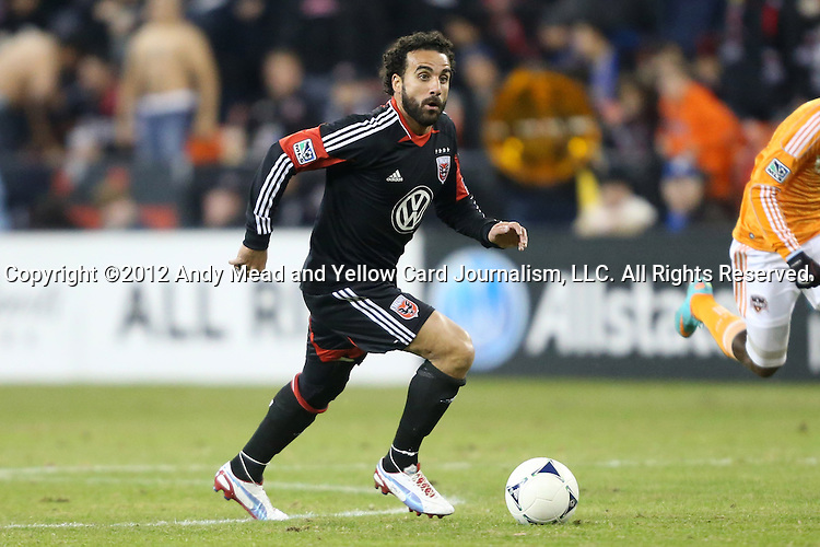 18 November 2012: DC's Dwayne De Rosario (CAN). DC United played the Houston Dynamo at RFK Stadium in Washington, DC in the second leg of their 2012 MLS Cup Playoffs Eastern Conference Final series. The game ended in a 1-1 tie, Houston won the series 4-2 on aggregate goals.