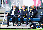Solna 2015-07-26 Fotboll Allsvenskan AIK - IF Elfsborg :  <br /> Elfsborgs tr&auml;nare manager Magnus Haglund , assisterande tr&auml;nare Reine Almqvist och assisterande tr&auml;nare Janne Mian deppar p&aring; avbytarb&auml;nken under matchen mellan AIK och IF Elfsborg <br /> (Foto: Kenta J&ouml;nsson) Nyckelord:  AIK Gnaget Friends Arena Allsvenskan Elfsborg IFE depp besviken besvikelse sorg ledsen deppig nedst&auml;md uppgiven sad disappointment disappointed dejected tr&auml;nare manager coach
