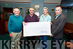 Tim Coffey from Beaufort, winner of the €4,400 Na Gaeil lotto, receiving the cheque on Tuesday night in Na Gaeil. he sum of €4,400 from Pat O'Connor on Tuesday night.<br />  L to r: Pat O'Connor, Tim Coffey, Mary Jo Curran and Tim Lynch (Chairman),