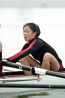 REDWOOD SHORES, CA - JANUARY 2002:  Lily Liu of the Stanford Cardinal during practice in January 2002 in Redwood Shores, California.