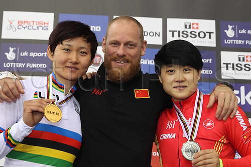 06.03.2016. Lee Valley Velo Centre, London England. UCI Track Cycling World Championships Womens Sprint final.  ZHONG Tianshi and JUNHONG Lin (CHI) with Benoit Vetu (trainer)