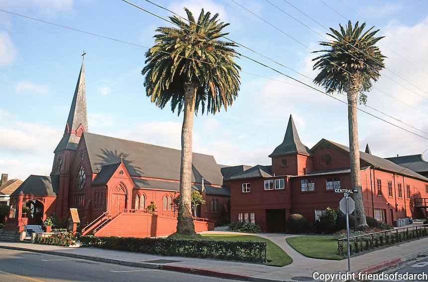 St. Mary's By the Sea Episcopal Church, 1887  & Parish House, 1893. Pacific Grove CA. Coxhead & Coxhead. Photo '85.
