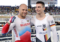 CALI – COLOMBIA – 19-02-2017: Denis Dmitriev de Rusia (Izq.) gana medalla de oro y Max Niederlag (Der.) medalla de plata en la prueba Velocidad hombres en el Velodromo Alcides Nieto Patiño, sede de la III Valida de la Copa Mundo UCI de Pista de Cali 2017. / Denis Dmitriev (L), from Russia win gold medal and Max Niederlag (R) silver medal in the Men´s Sprint Race at the Alcides Nieto Patiño Velodrome, home of the III Valid of the World Cup UCI de Cali Track 2017. Photo: VizzorImage / Luis Ramirez / Staff.