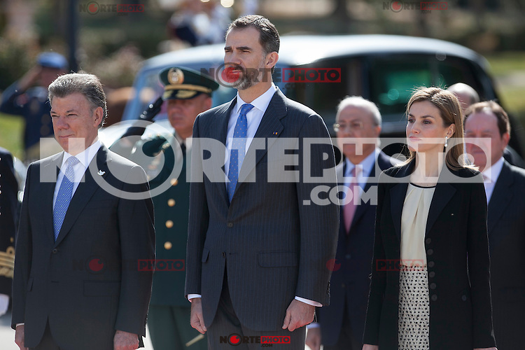 Spanish Royals King Felipe VI of Spain and Queen Letizia of Spain during the Colombia´s President Juan Manuel Santos welcome ceremony at the Pardo Palace in Madrid, Spain. March 01, 2015. (ALTERPHOTOS/Victor Blanco) /NORTEphoto.com