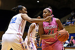 04 February 2016: Virginia's Lauren Moses (21) and Duke's Oderah Chidom (22). The Duke University Blue Devils hosted the University of Virginia Cavaliers at Cameron Indoor Stadium in Durham, North Carolina in a 2015-16 NCAA Division I Women's Basketball game. Both teams wore pink as part of the annual Play4Kay game in support of the Kay Yow Cancer Fund. Duke won the game 67-52.