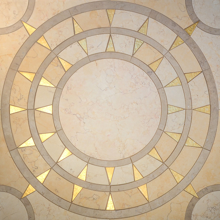 Mireille, a waterjet stone mosaic, shown in honed 24K Gold Glass, Lagos Gold and Sylvia Gold, is part of the Aurora® collection by Sara Baldwin for New Ravenna.