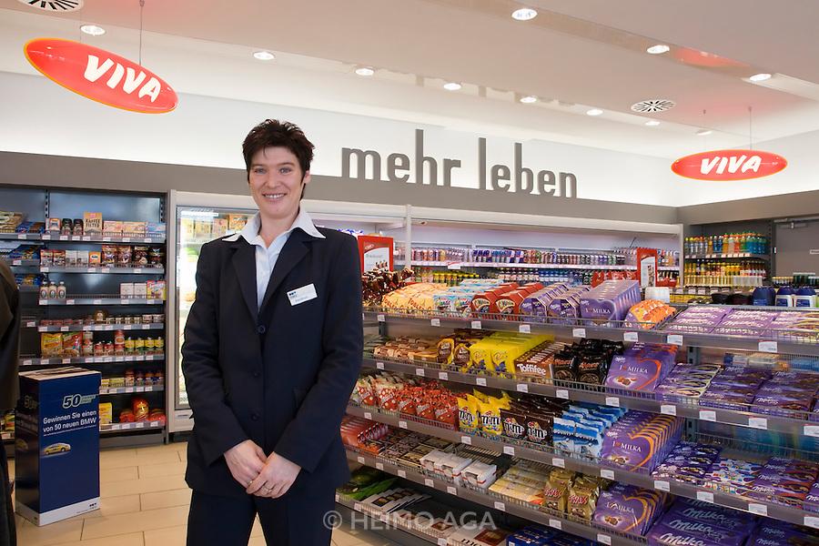 OMV Tankpost St. Veit an der Glan. Franchiser Heidrun Huber at the Viva Supermarket.