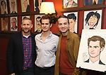Tim Levy, Andrew Garfield and Jordan Roth attends the Sardi's portrait unveiling for Andrew Garfield at Sardi's on May 31, 2018 in New York City.