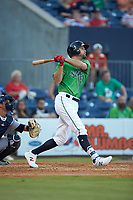 Lucas Duda (52) of the Gwinnett Stripers follows through on his swing against the Scranton/Wilkes-Barre RailRiders at BB&T BallPark on August 16, 2019 in Lawrenceville, Georgia. The Stripers defeated the RailRiders 5-2. (Brian Westerholt/Four Seam Images)