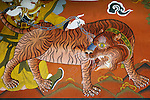 Close-up of a wall mural, Paro Valley, Bhutan