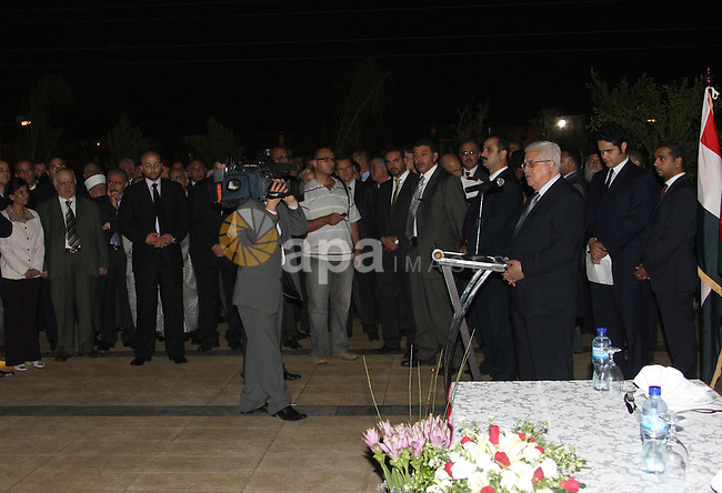 Palestinian President Mahmoud Abbas (Abu Mazen) participates in the Revolution Holiday in the Egyptian Embassy in the West Bank city of Ramallah on July 21,2010. Photo by Thaer Ganaim