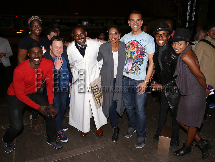 Joshua Henry, Amber Iman, Brooks Ashmanskas, Arbender Robinson, Audra McDonald, Brian Stokes Mitchell, Billy Porter and Andrienne Warren during the Actors' Equity Opening Night Gypsy Robe Ceremony honoring Arbender Robinson for 'Shuffle Along' at The Music Box Theatre on April 28, 2016 in New York City.